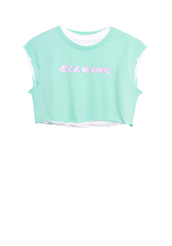 W.I.A IS OVER MINT DOUBLE CROP T-SHIRT
